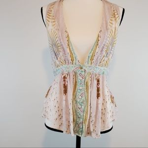 Free People open front and back sleeveless shirt S